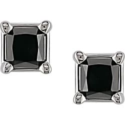 10k White Gold 1ct TDW Black Diamond Square Studs