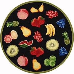 Safavieh Hand-hooked Fruits Black Wool Rug (4' Round)