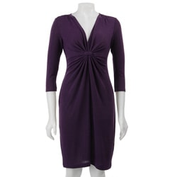 London Times Women's Solid Melange Knit Dress