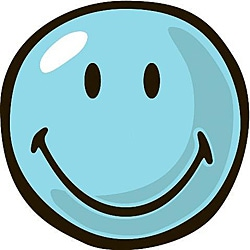 Blue Smiley Party Rug (3'3 Round)