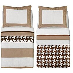 Bacati Metro Khaki/ White/ Chocolate 4-piece Toddler Bedding Set