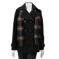 London Fog Women's Seamed Peacoat with Scarf