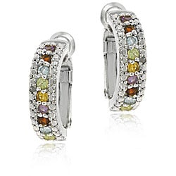 Glitzy Rocks Sterling Silver Gemstone Semi-hoop Earrings