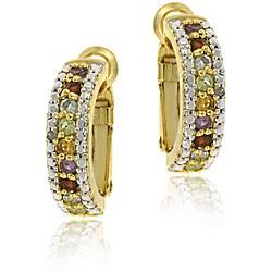 Glitzy Rocks 18k Gold over Silver Gemstone Semi-hoop Earrings
