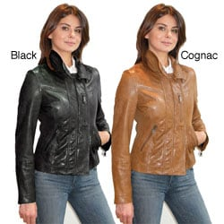 Izod Women's Lambskin Cycle Jacket
