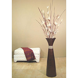 Green Bamboo Pod Vase with EverGreen Lilies