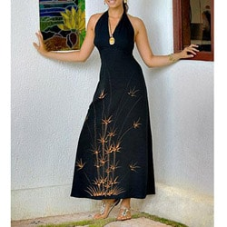 Black Floral Full-length Halter Dress (Indonesia)