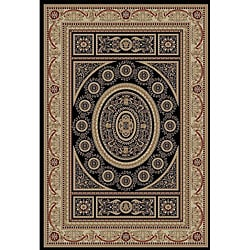 Alexa Trinity Collection Geometric Oriental Black Rug (6'7 x 9'3)