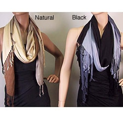 Faux Pashmina Ombre Stripe Scarves (Pack of 2)