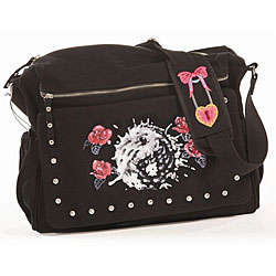 Rock N Moms Hand-painted Red Roses Diaper Bag.