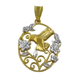 14k Two-tone Gold Hummingbird and Flower Pendant