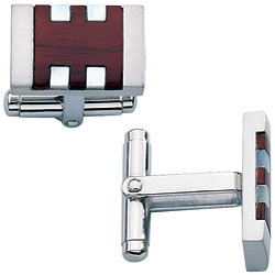 Colibri Havana Stainless Steel and Rosewood Men's Cuff Links