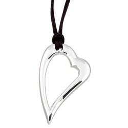 Sterling Essentials Sterling Silver Floating Heart Black Cord Necklace