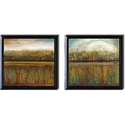 Mike Klung 'Early Days I and II' Black-framed Canvas Art Set