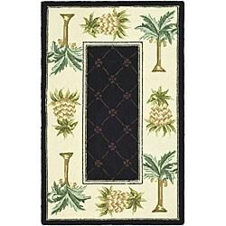 Safavieh Hand-hooked Palm Black/ Ivory Wool Rug (1'8 x 2'6)