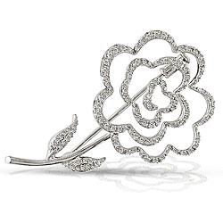 14k White Gold 1/2ct TDW Diamond Flower Brooch (H-I, SI1-SI2)