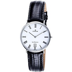 Edox Swiss Men's Les Genevez Ultra Slim White Dial Watch