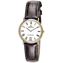 Edox Swiss Women's Les Genevez Ultra Slim Leather Strap Watch