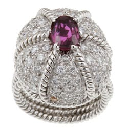 18k Gold Pink Tourmaline and 2ct TDW Diamond Estate Ring