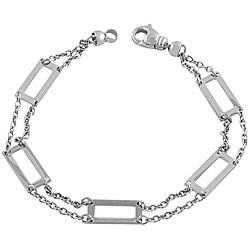 Fremada 14k White Gold Square Contempo Bracelet
