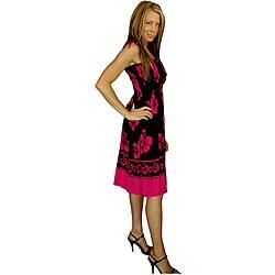 Hibiscus Design Black/ Pink Tube Dress (Indonesia)