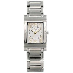 Lucien Piccard Men's White Rectangle Dial Stainless Steel Watch