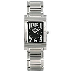 Lucien Piccard Men's Black Rectangle Dial Stainless Steel Watch