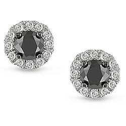 Miadora 14k Gold 1/2ct TDW Black and White Diamond Halo Earrings(H-I, I2-I3)