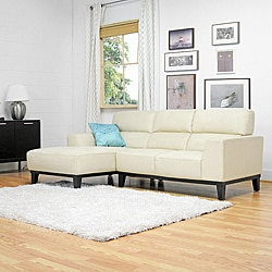 Theresa Cream 2-pieces Leather Sectional Sofa