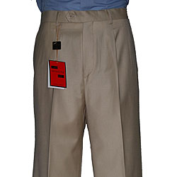 Men's Camel Single-pleat Wool Pants