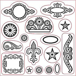 Fiskars Li'l Davis Designs 16-piece Ornaments Clear Rubber Stamps