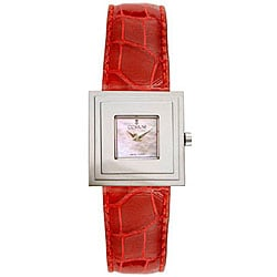 Corum Women's Sevigne Mother of Pearl Dial Red Strap Watch