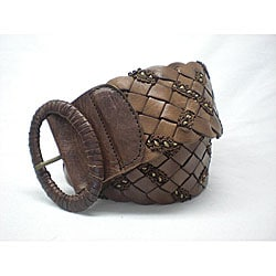 CO2 Cashmere Women's Light Brown Cross-weave Belt