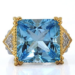 Michael Valitutti Sterling Silver Two-tone Aqua Topaz/ Sapphire Ring
