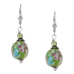 Charming Life Silver Flower Power Green Art Glass Earrings