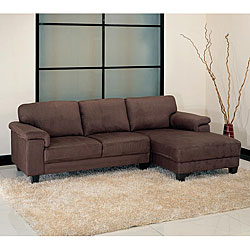 Capri Dark Brown Microsuede Sectional Sofa