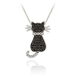 Sterling Silver Black Diamond Cat Necklace | Overstock.com