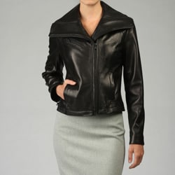 Kenneth Cole Women's Lamb Short Shape Leather Jacket