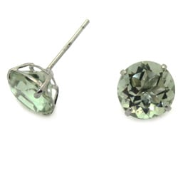 10k White Gold Green Amethyst Basket-set Stud Earrings