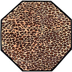 Hand-tufted Brown Leopard Animal Print Safari Wool Rug (8' Octagon)