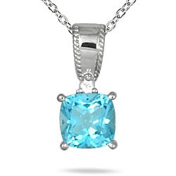 Sterling Silver Blue Topaz and White Sapphire Necklace
