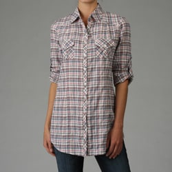 Cielo Women's Sky Pink Plaid Button-front Shirt