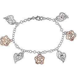 Italian Pink-plated Sterling Silver Flower and Heart Charm Bracelet