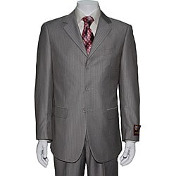 Beige Striped Three-button Suit