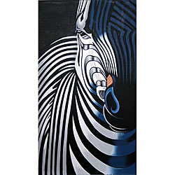 Oil on Canvas Black and White Zebra Painting (Indonesia)