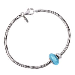 Signature Moments Silver Baby Blue Murano Glass Large Starter Set (8.25-inch/ 8.75-inch)