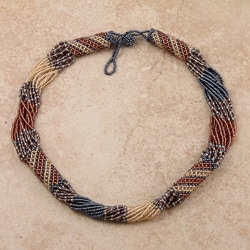 Zulu Bead Blue/ Cream/ Pink Tube Necklace (South Africa)