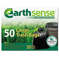 EarthSense Recycled 33-gallon Black Trash Can Liners (Pack of 50)