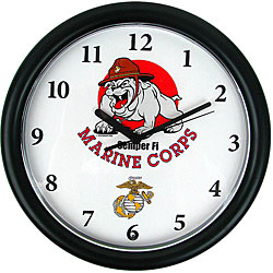 Chiming US Marines Bull Dog Mascot Clocks (Case of 24)