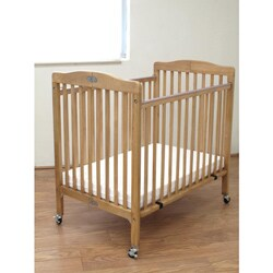 Folding Natural Wooden Compact Crib with 3-inch Mattress